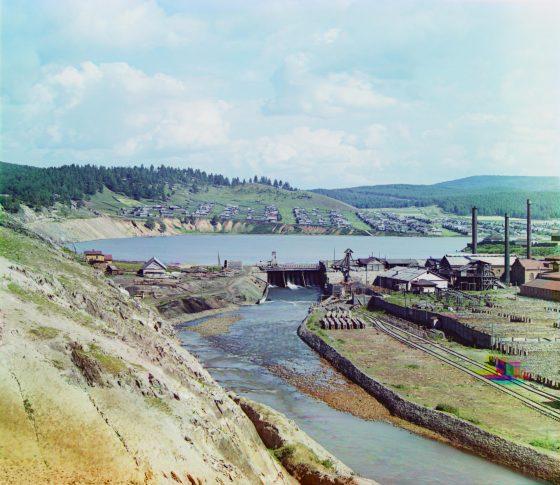 С.М. Прокудин-Горский. Катав-Ивановский завод. Заводский пруд и плотина. 1910