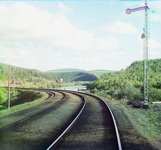С. М. Прокудин-Горский. Закругление пути у Усть-Катава. 1910 г.
