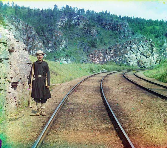 С. М. Прокудин-Горский. Стрелочник башкир [у Усть-Катава]. Лето 1910 года
